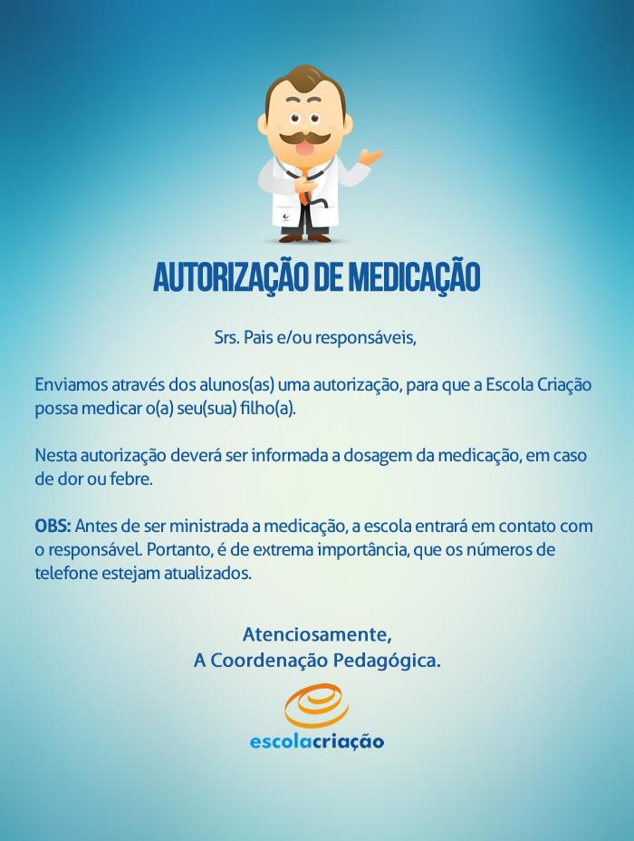 Autorização de Medicação   Escola Criação