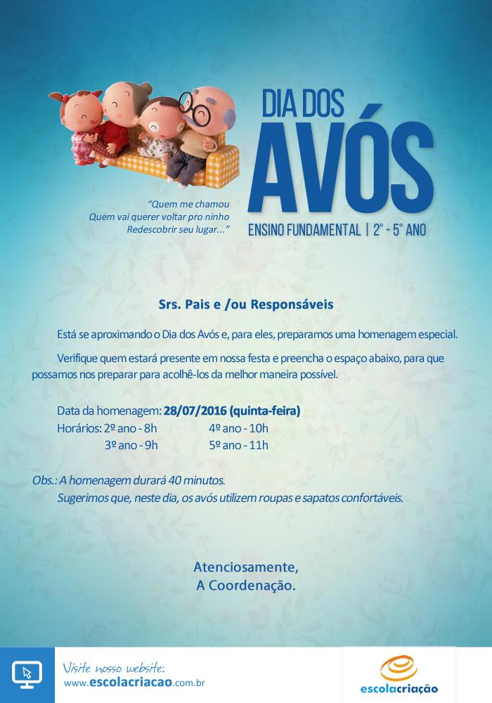 Festa Dia dos Avós   Escola Criação   2° a  5° Ano - Matutino