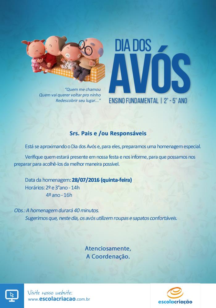 Festa Dia dos Avós   Escola Criação   2° a  5° Ano - Vespertino