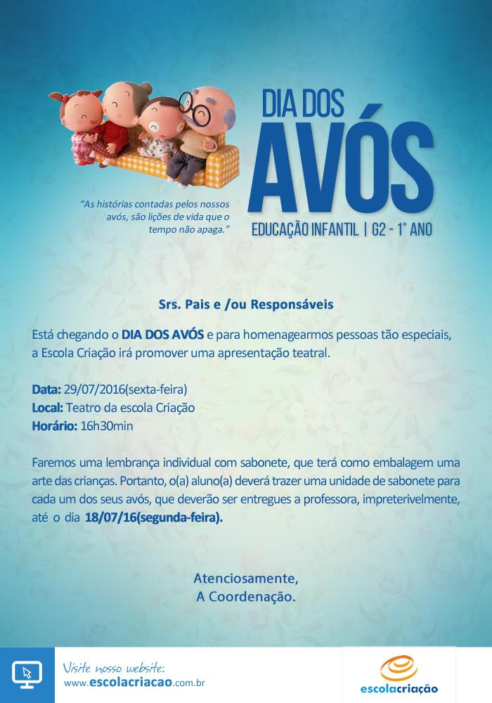 Festa Dia dos Avós   Escola Criação - G2 1° Ano - Vespertino